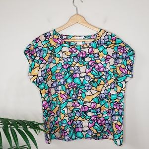 Vintage Anne Rashel   Floral Stained Glass Blouse